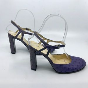 Purple Leather PRADA Heels with Ankle Strap